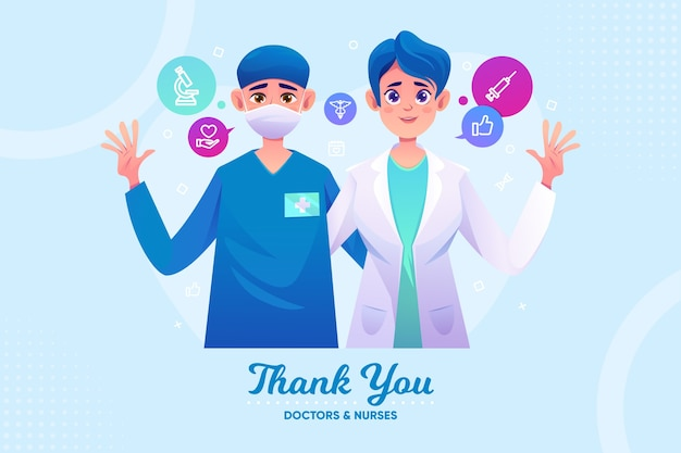 Thank you doctors and nurses Free Vector