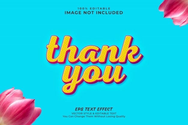 Thank you editable text effect style, premium