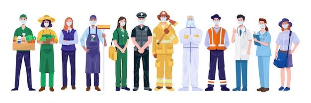 필수 근로자 개념을 감사합니다. 얼굴 마스크를 착용하는 다양한 직업 사람들.