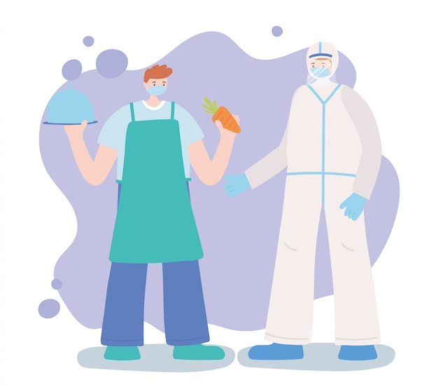 不可欠な労働者、医師、農家のプロのキャラクター、フェイスマスク、コロナウイルス病のイラストをありがとう