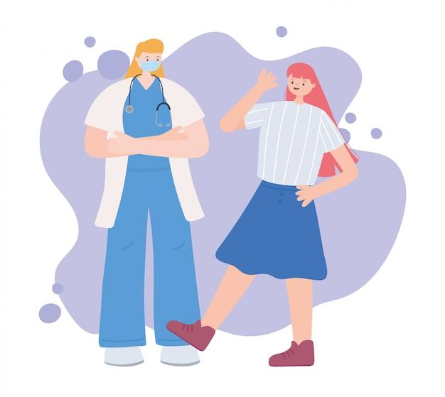 不可欠な労働者、幸せな女の子と女性医師、フェイスマスク、コロナウイルス病のイラストを着用していただきありがとうございます