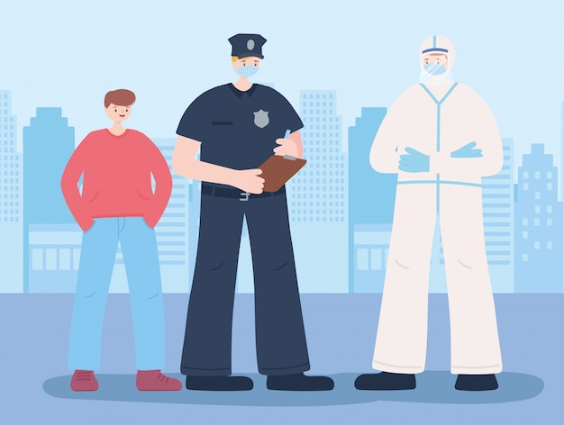 必要不可欠な労働者、警官、フェイスマスクと少年、コロナウイルス病のイラストを身に着けている医者に感謝