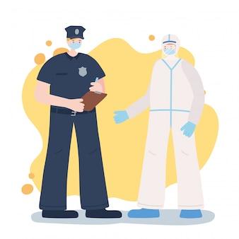 不可欠な労働者、警官、フェイスマスク、コロナウイルス病のイラストを身に着けている医者に感謝
