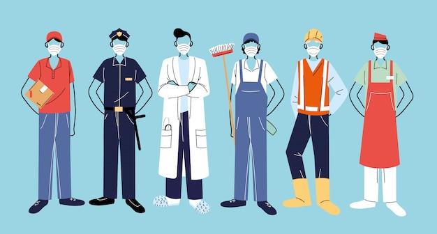 必要不可欠な労働者、フェイスマスクを着用しているさまざまな職業の人々に感謝