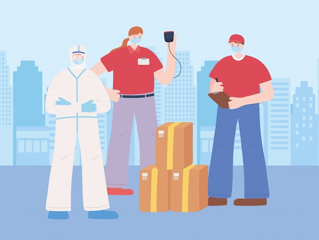不可欠な労働者、労働者の配達、防護服、様々な職業、コロナウイルス病のイラストと医師に感謝します。