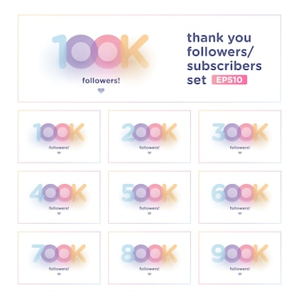 Thank you follower set with colorful background