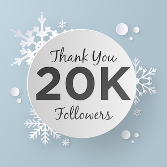 Thank you followers 20k design template, paper art style.