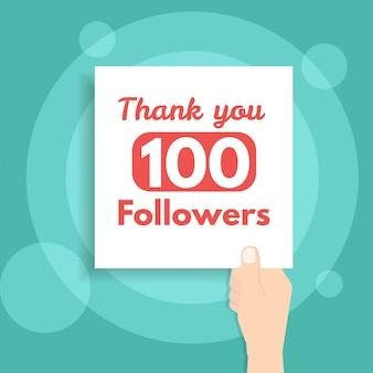 Thank you followers banner holds in hand