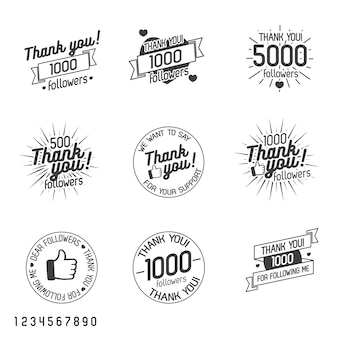 Thank you for followers label set isolated on white.