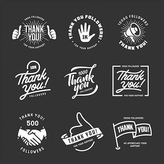 Thank you followers labels set