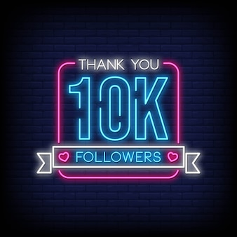 Thank you followers neon signs style