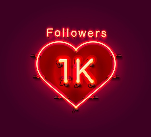 Thank you followers peoples, 1k online social group, neon sign