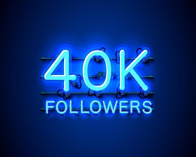 추종자, 40k 온라인 소셜 그룹, 네온 사인 감사합니다.
