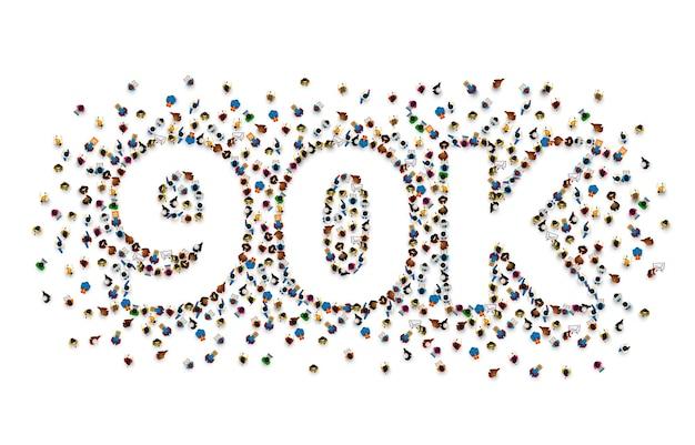 フォロワーの人々、90k のオンライン ソーシャル グループ、幸せなバナーのお祝いに感謝します。