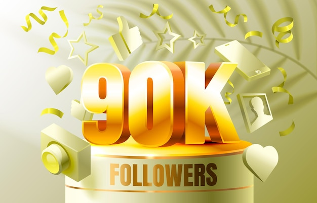 Thank you followers peoples k online social group happy banner celebrate vector