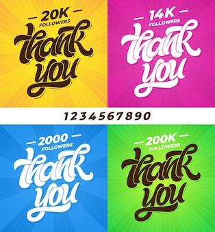 추종자 감사합니다. 글자와 모든 숫자가있는 소셜 미디어 배너 세트. 현대 브러시 서예.