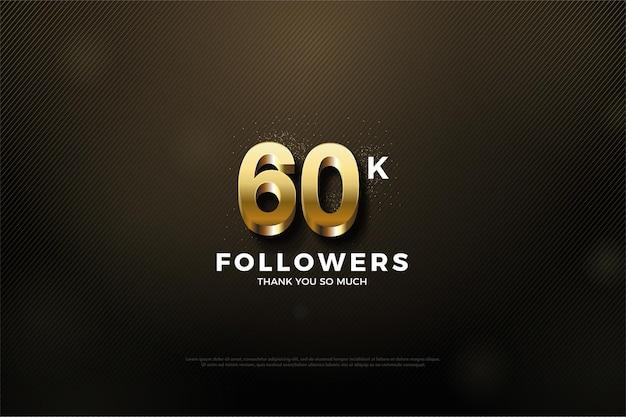 황금색과 반짝이는 3d 숫자를 가진 60k 팔로워들에게 감사드립니다.