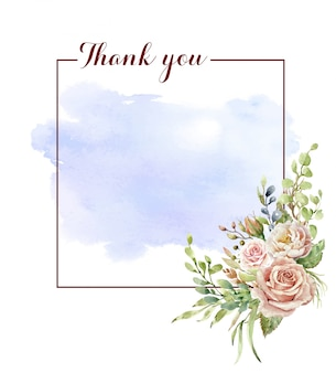 Thank you frame with watercolor rose bouquet