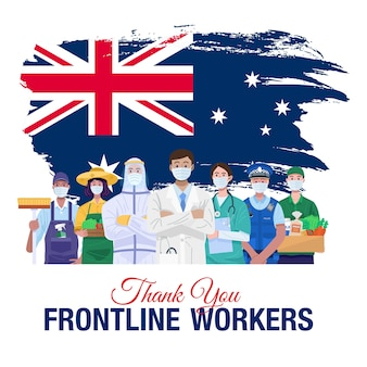 일선 직원들에게 감사합니다. 호주의 국기와 함께 서있는 다양한 직종 사람들.