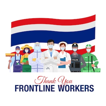 일선 직원들에게 감사합니다. 태국의 국기와 함께 서있는 다양한 직종 사람들.