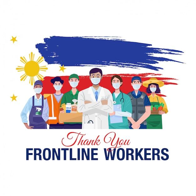 最前線の労働者に感謝します。フィリピンの旗を持って立っている様々な職業人。ベクター