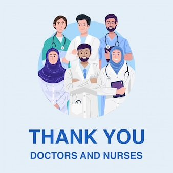 Thank you frontliners, illustration of muslim doctors and nurses banner.