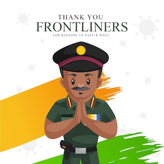 Thank you frontliners for keeping us safe and well banner design