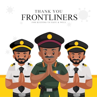 Thank you frontliners for keeping us safe and well banner template