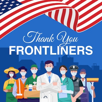 Thank you frontliners. various occupations people standing with american flag. vector