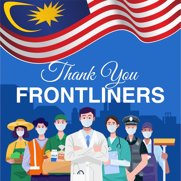 Thank you frontliners. various occupations people standing with flag of malaysia.