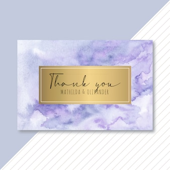 Thank you golden card with purple blue abstract watercolor
