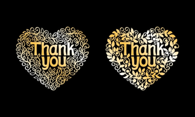 Thank you golden vector decorative label isolated