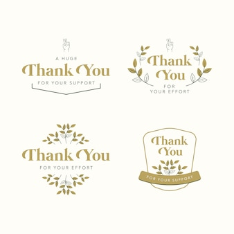 Thank you greeetings flat vector collection