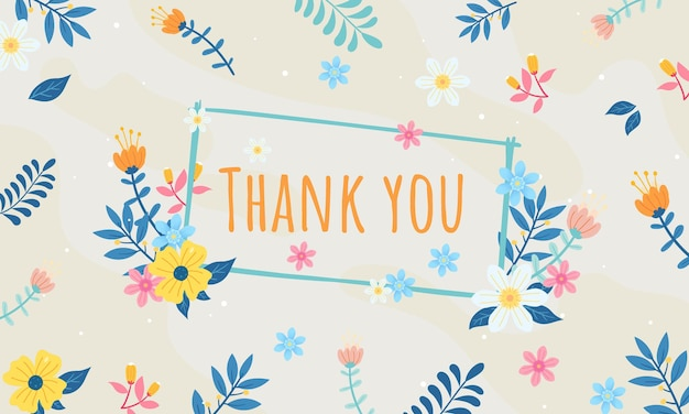 Thank you greeting card or postcard floral background