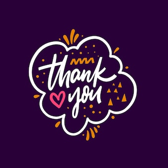 Thank you hand drawn colorful phrase modern lettering typography