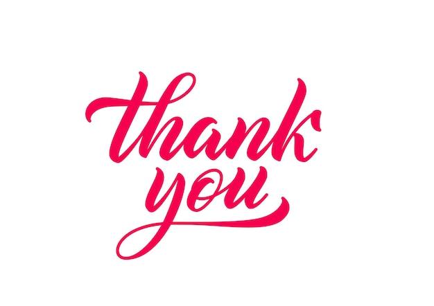 손으로 그린 글자 감사합니다. 서예 비문. 레터링 스타일의 빨간색 필기 텍스트입니다.