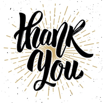 Thank you. hand drawn lettering phrase  on white background.  element for poster, card, .  illustration