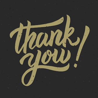 Thank you! hand drawn lettering phrase on white background.  illustration