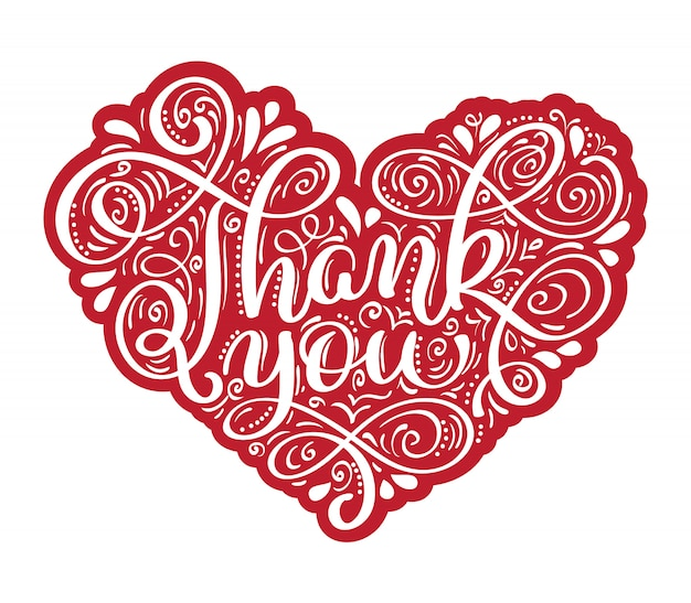Thank you hand drawn text in heart frame