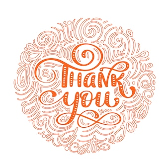 Thank you hand drawn text in round frame. trendy hand lettering quote, graphics.