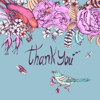 Thank you hand drawn vector greeting card
