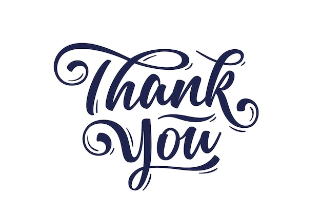 Thank you, hand lettering thank you, decorative graphic on white background.