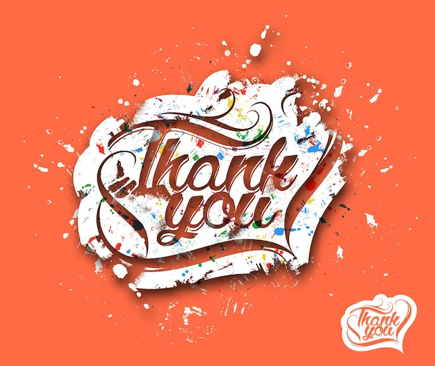 Thank you hand lettering typographical vector background