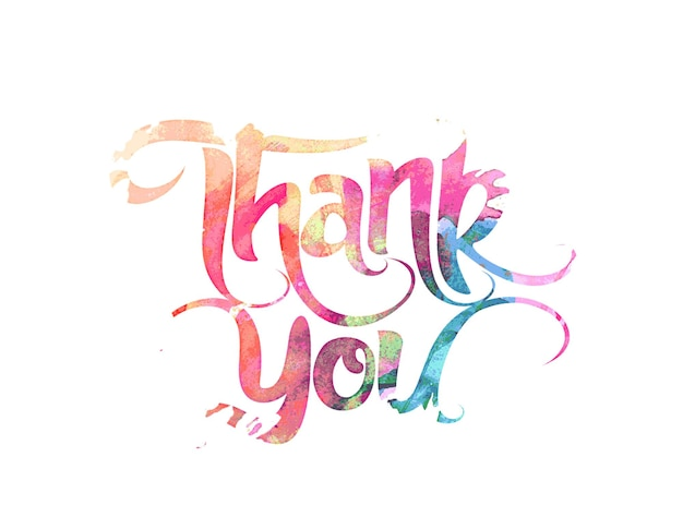 Thank you hand lettering typographical vector background.
