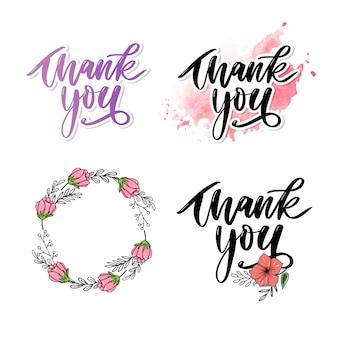 Thank you handwritten inscription. hand drawn lettering. thank you calligraphy. thank you card set