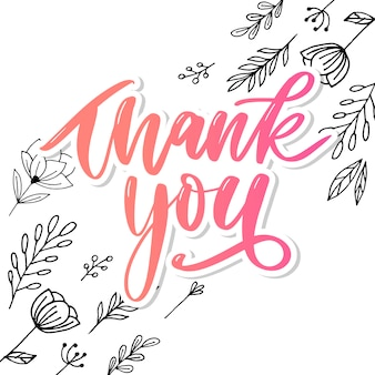 Thank you handwritten inscription. hand drawn lettering. thank you calligraphy. thank you card