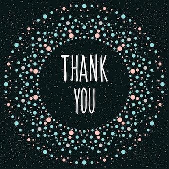 Спасибо. рукописные надписи и раунд ручной работы для дизайна открытки, приглашения, футболки, книги, баннера, плаката, альбома для вырезок, альбома и т. д.