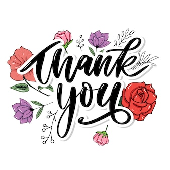 Thank you handwritten lettering with floral design
