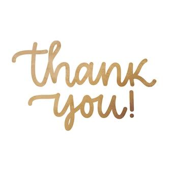 Thank you. handwritten modern brush lettering, golden foil