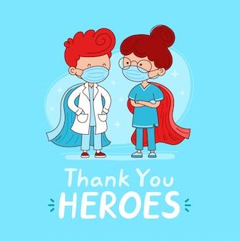 영웅 카드 감사합니다. 의료 마스크와 슈퍼 영웅 망토와 귀여운 의사와 간호사. 만화 캐릭터 플랫 라인 일러스트입니다. 슈퍼 히어로 의료 healtcare 노동자 개념